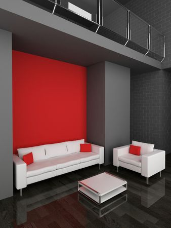 sofa and armchair in the living room 3D