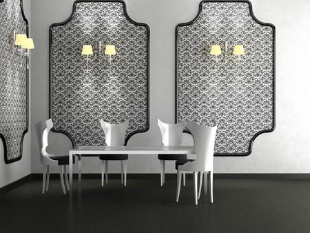 Modernes Zimmer mit einem Essbereich zone 3D  Standard-Bild - 7109399