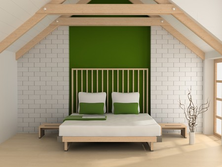 Modern inter of a bedroom room 3D Stock Photo - 7109245