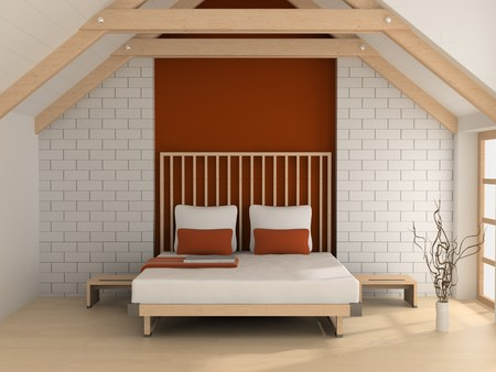 Modern interior of a bedroom room 3D Stock Photo - 7109244