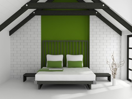 Modern interior of a bedroom room 3D Stock Photo - 7109251