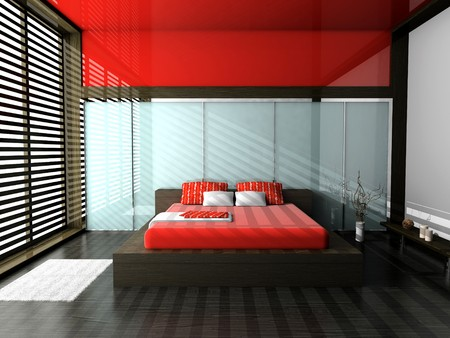 Modern interior of a bedroom room 3D Stock Photo - 7109365