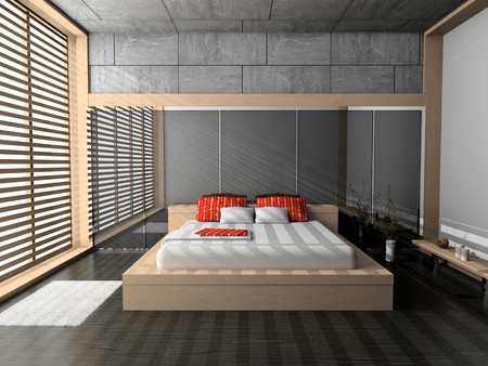 Modern interior of a bedroom room 3D Stock Photo - 7109386