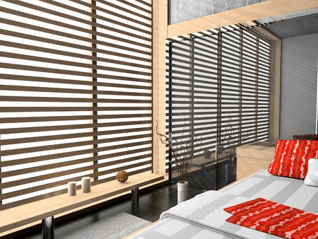 Modern interior of a bedroom room 3D Stock Photo - 7109382