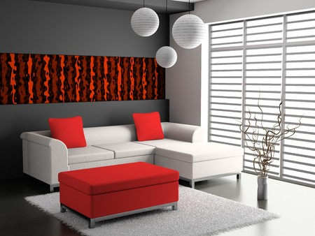 mantelpiece: modern sofa  in the  room  Stock Photo