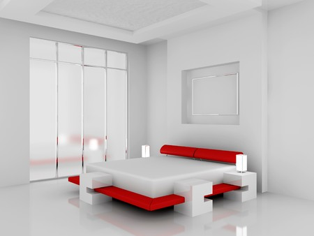 Modern interior of a bedroom room 3D Stock Photo - 7109089