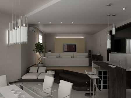 modern living a room with a dining zone 3D Stock Photo