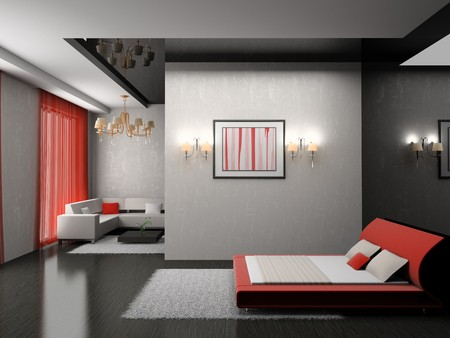 Modern interior of a bedroom room 3D Stock Photo - 7109301