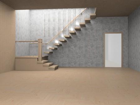 Light modern empty interior 3D Stock Photo