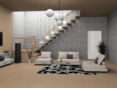 residential structures: modern interior of living room 3D