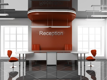 Modern reception at office 3D photo