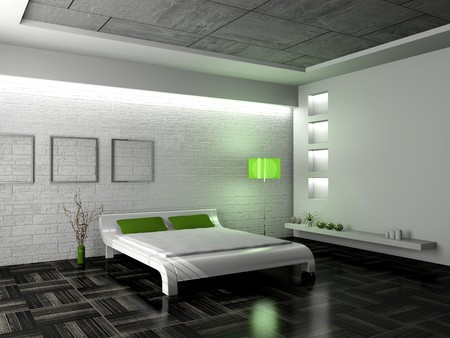 Modern interior of a bedroom room 3D photo