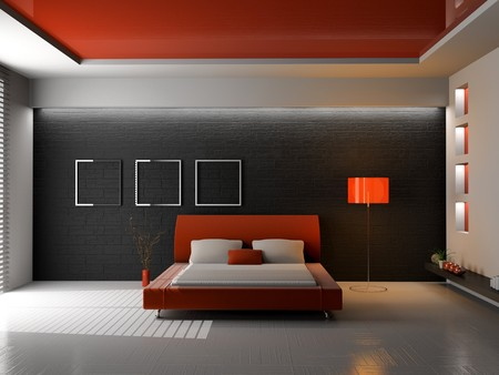 Modern interior of a bedroom room 3D Stock Photo - 7163154