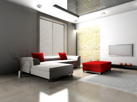 apartment living: modern interior of living room 3D