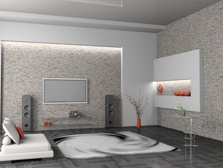 mantelpiece: modern interior of living room 3D
