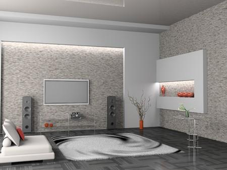 luxury living room: modern interior of living room 3D