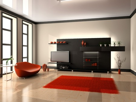 living apartment: modern interior of living room 3D