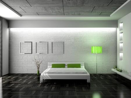 Modern Interior of a Bedroom room 3D Standard-Bild - 7234731