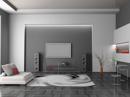 Modernes Interieur des Living room 3D  Standard-Bild - 7234727