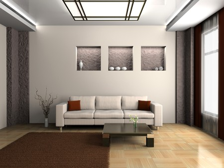 Modern Interior of Living room 3D Standard-Bild - 7234728