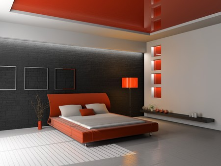 Modern interior of a bedroom room 3D Stock Photo - 7253778