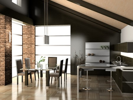 dining table and chairs: Modern interior of a dining room 3D