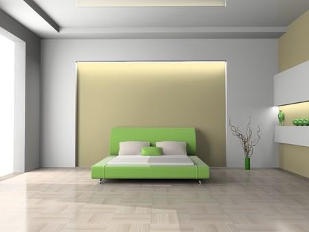 Modern Interior aus einem Schlafzimmer Zimmer 3D  Standard-Bild - 7253774