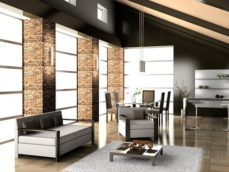 modern living a room with a dining zone 3D Stock Photo - 7349334