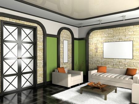 modern interior of living room 3D Stock Photo - 7491723