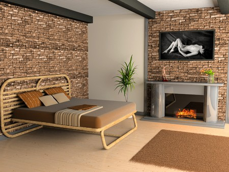 Modern interior of a bedroom room 3D Stock Photo - 7546276