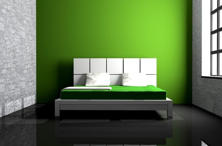 Modern interior of a bedroom room 3D Stock Photo - 7598800