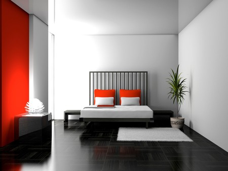 Modern interior of a bedroom room 3D Stock Photo - 7598791