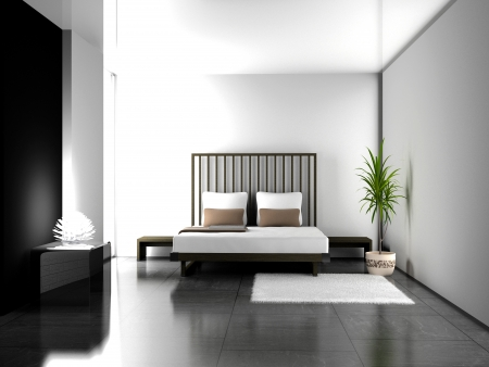 Modern interior of a bedroom room 3D Stock Photo - 7695900