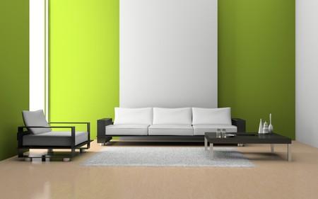 Modern Interior of Living room 3D Standard-Bild - 7695906