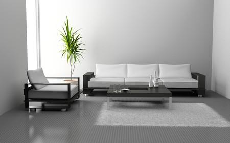 modern living room: modern interior of living room 3D