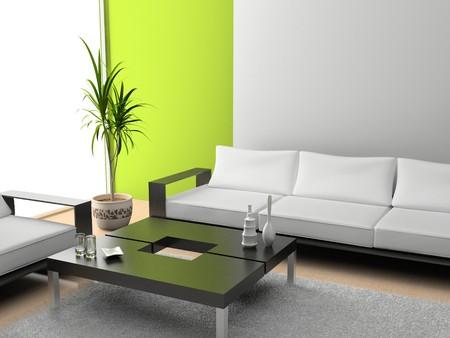 mantelpiece: modern interior of living room 3D
