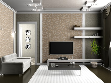 modern interior of living room 3D Stock Photo - 8001664