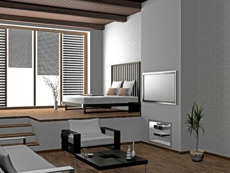 modern interior of living room 3D photo