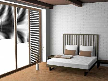 Modern interior of a bedroom room 3D Stock Photo - 23000607