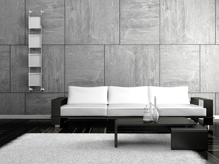 living room interior design: modern sofa  in the  room  Stock Photo
