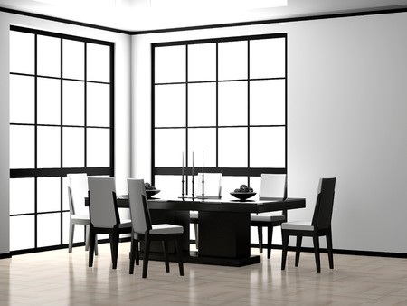 Modern interior of a dining room 3D photo