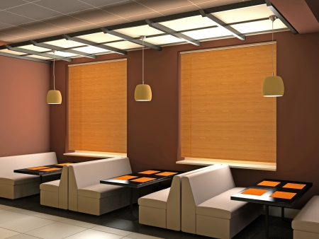 Modern interior of cafe 3D Stock Photo - 8186020