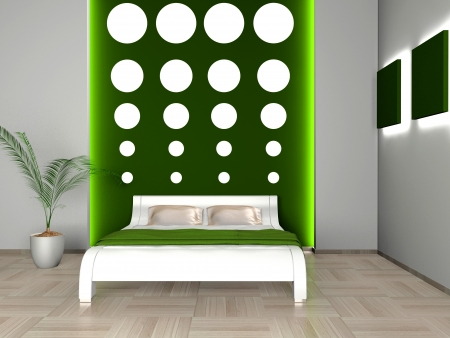 Modern interior of a bedroom room 3D Stock Photo - 23000608