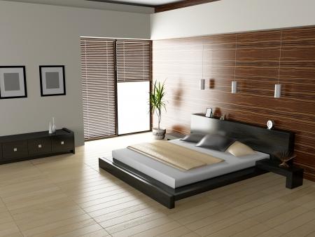 Modernes Interieur aus einem Schlafzimmer Zimmer 3D Standard-Bild - 23000612