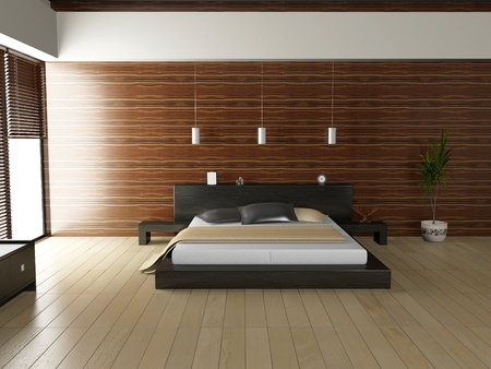 Modern interior of a bedroom room 3D Stock Photo - 8497749