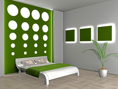 Modern inter of a bedroom room 3D Stock Photo - 23000613