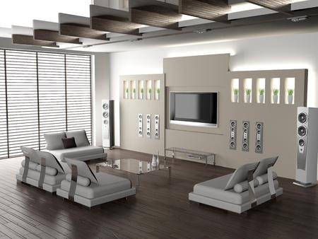 Modern Interior eines lebendigen room 3D Standard-Bild - 8497729