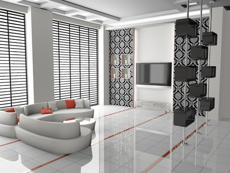 Modern interior of a living room  3D photo