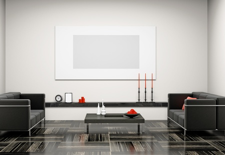 Modern interior of a living room  3D Stock Photo - 8580866