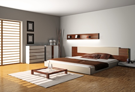 Modern inter of a bedroom room 3D Stock Photo - 8711993